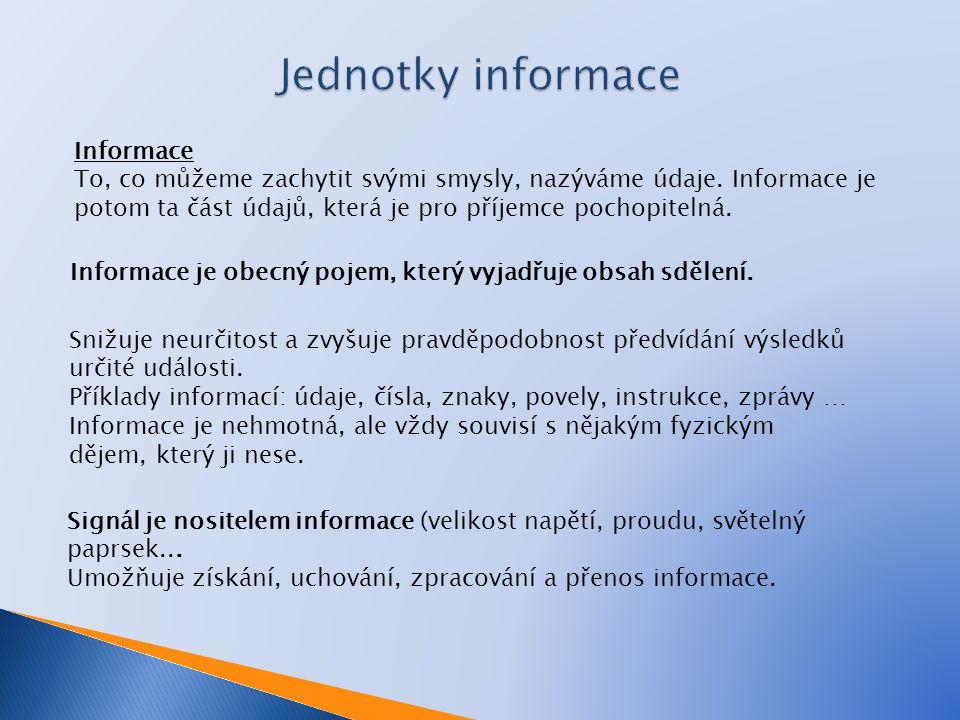 Jednotky informace Informace