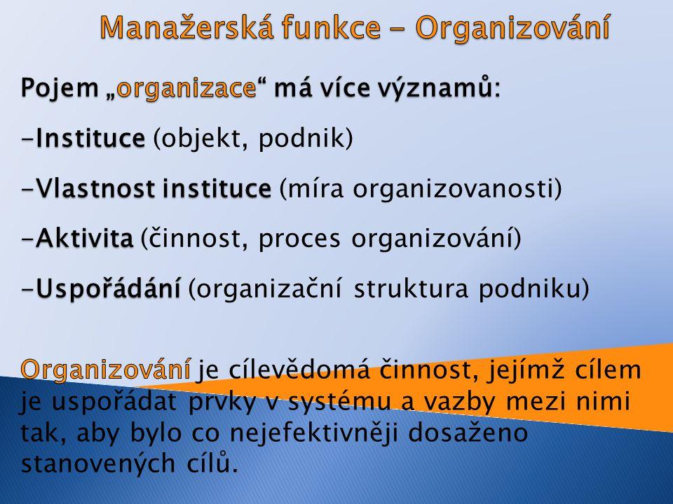 Manažerská funkce - Organizování