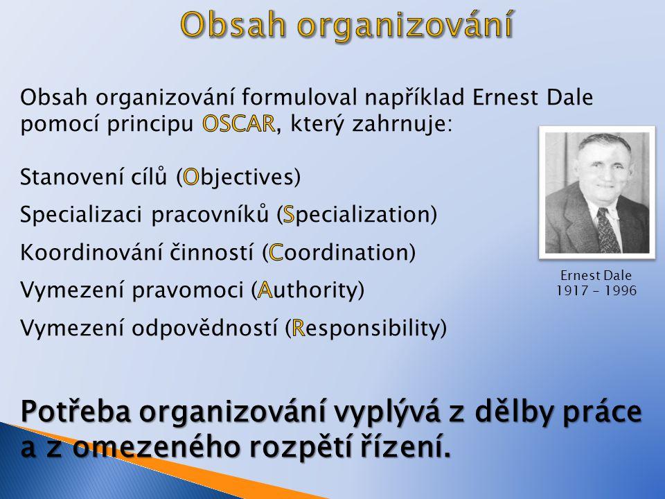 Obsah organizování Obsah organizování formuloval například Ernest Dale pomocí principu OSCAR, který zahrnuje:
