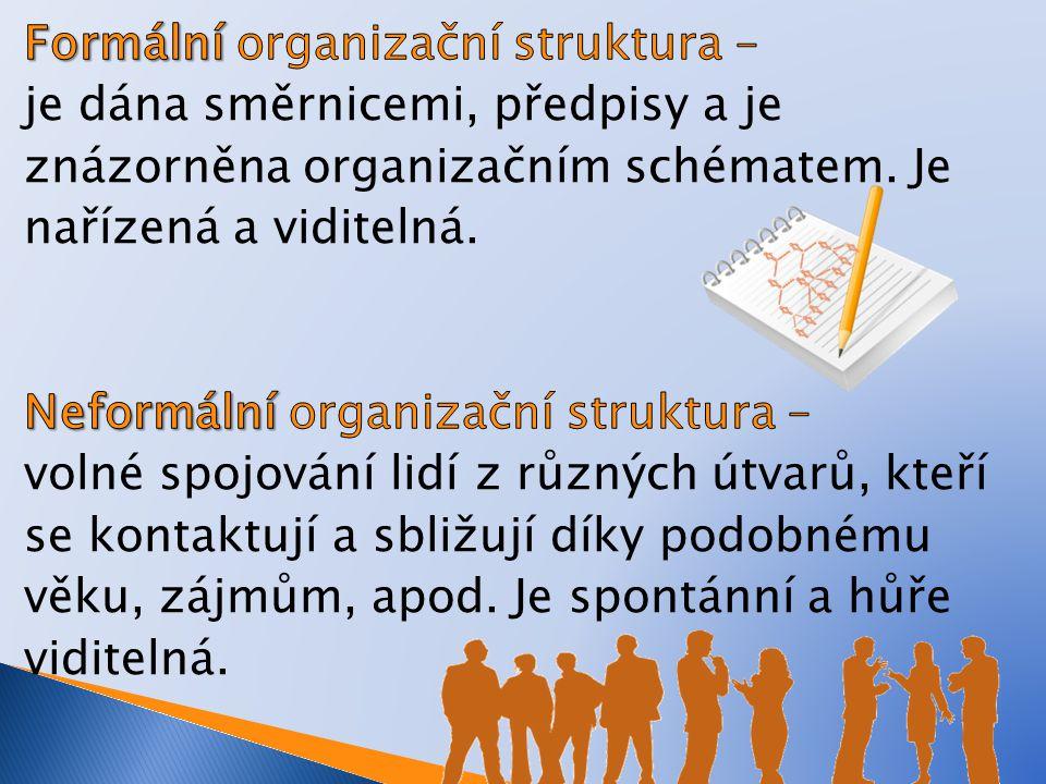 Formální organizační struktura – je dána směrnicemi, předpisy a je znázorněna organizačním schématem.