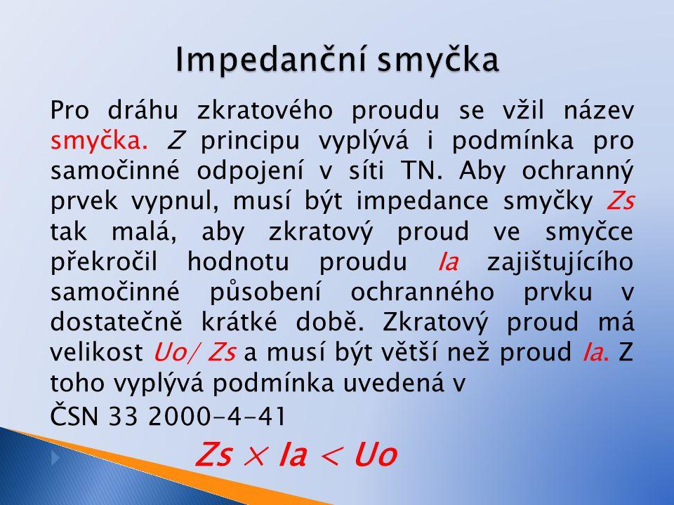 Impedanční smyčka Zs × Ia < Uo