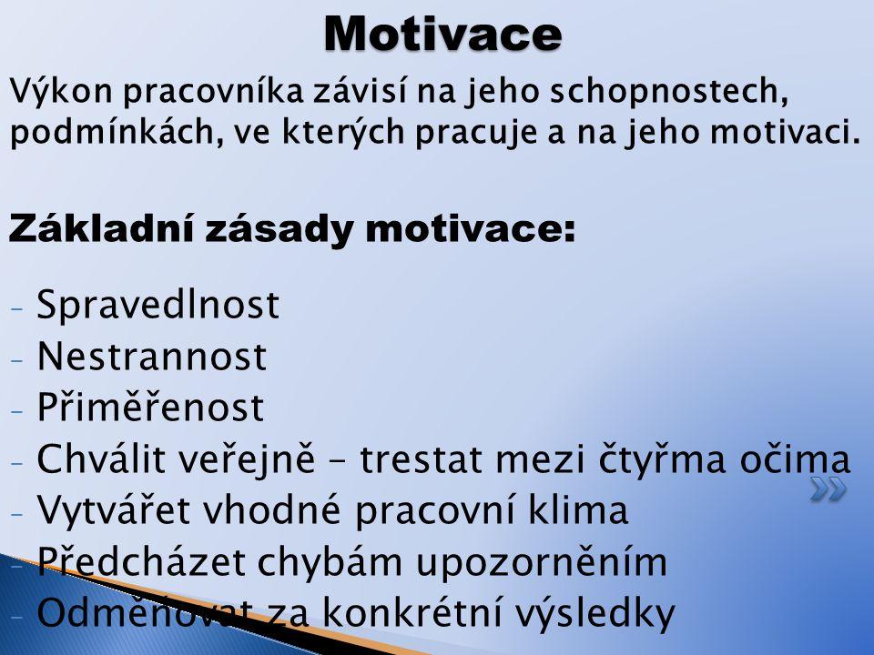 Motivace Základní zásady motivace: Spravedlnost Nestrannost