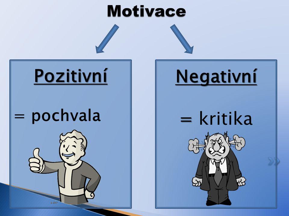 Motivace Pozitivní = pochvala Negativní = kritika