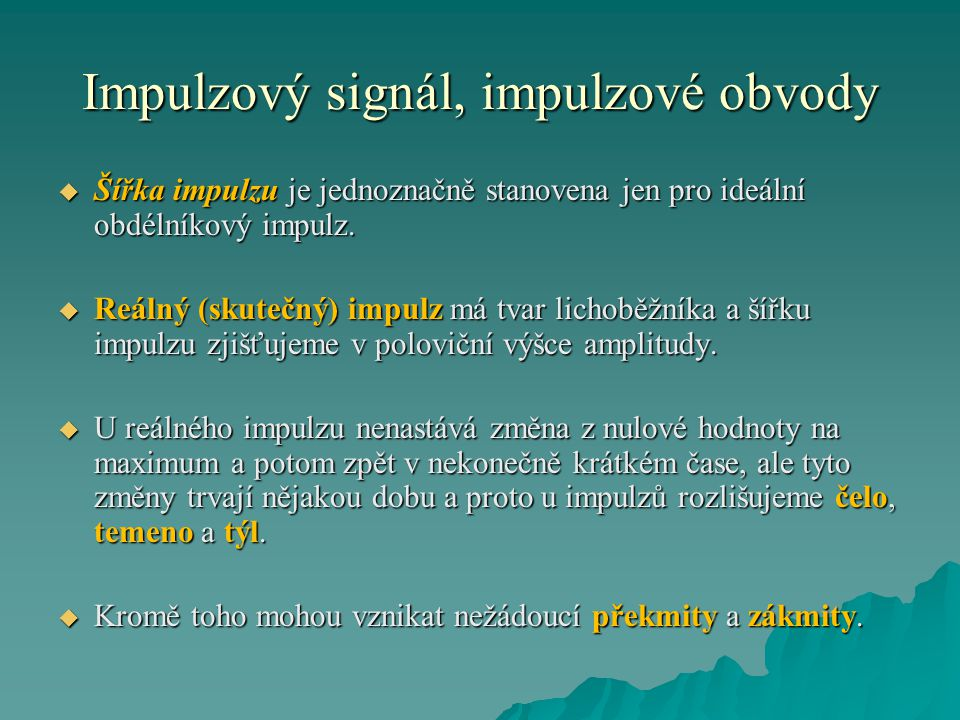Impulzový signál, impulzové obvody