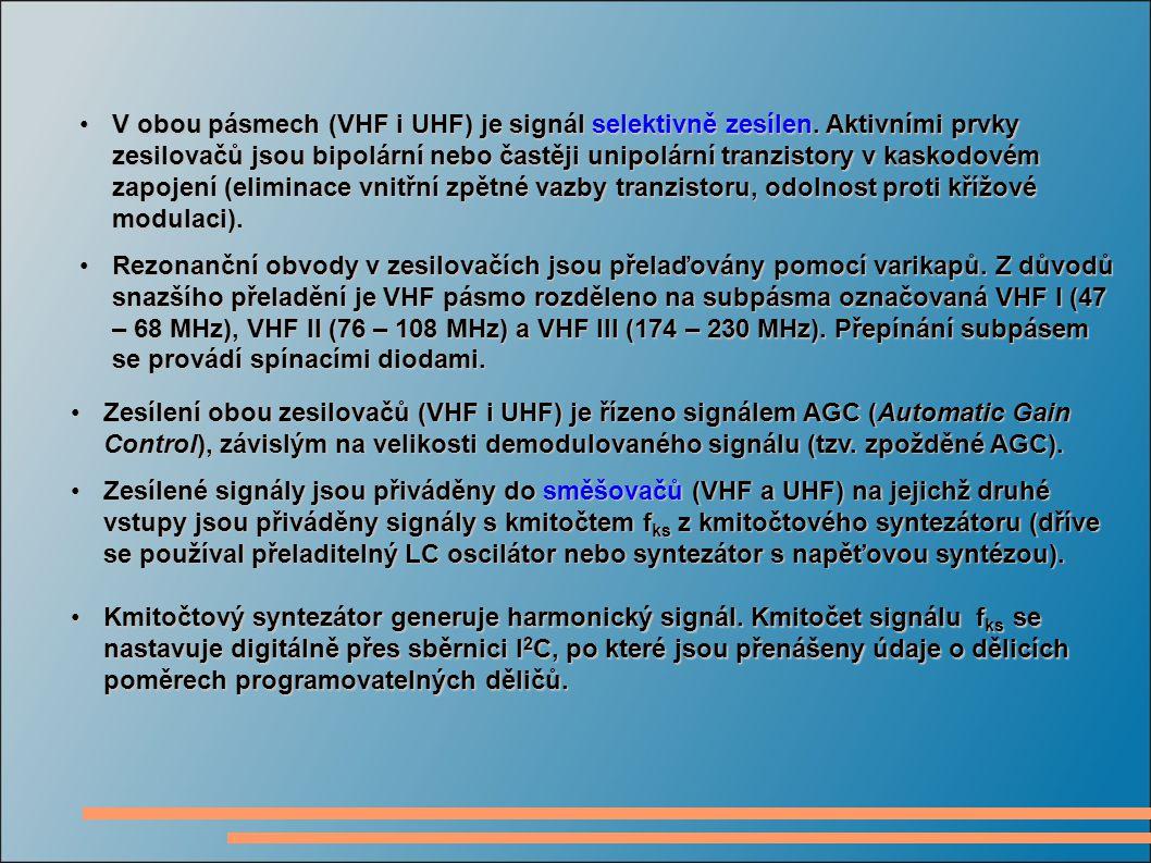 V obou pásmech (VHF i UHF) je signál selektivně zesílen