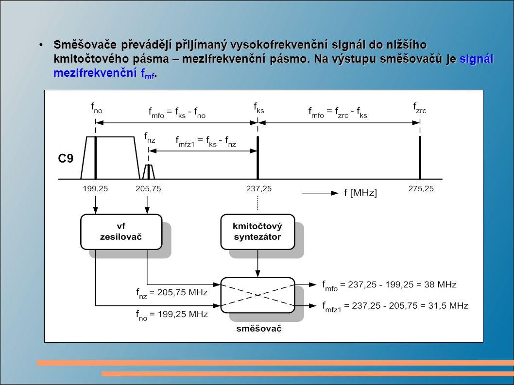 Směšovače převádějí přijímaný vysokofrekvenční signál do nižšího kmitočtového pásma – mezifrekvenční pásmo.