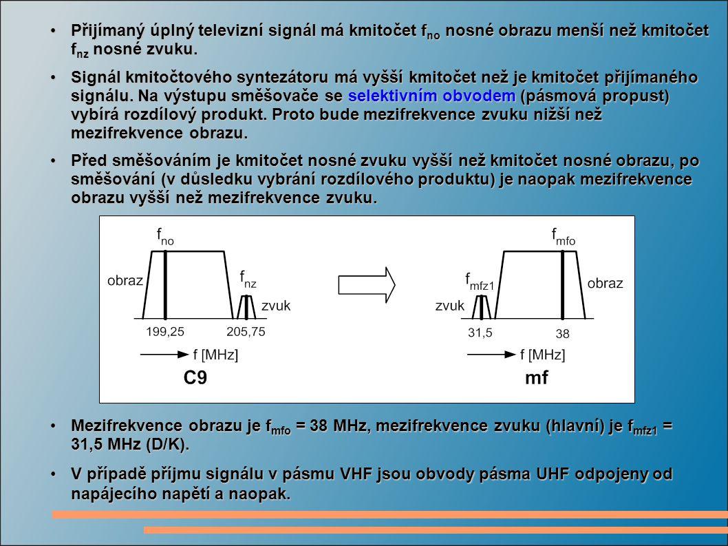 Přijímaný úplný televizní signál má kmitočet fno nosné obrazu menší než kmitočet fnz nosné zvuku.