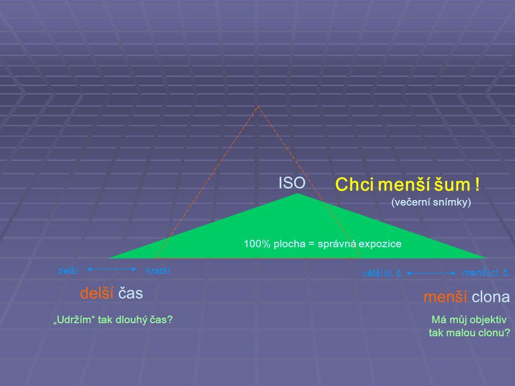 Chci menší šum ! ISO delší čas menší clona (večerní snímky)