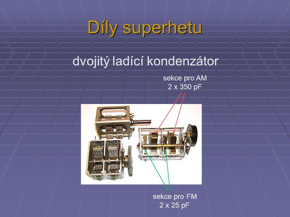 Díly superhetu dvojitý ladící kondenzátor sekce pro AM 2 x 350 pF