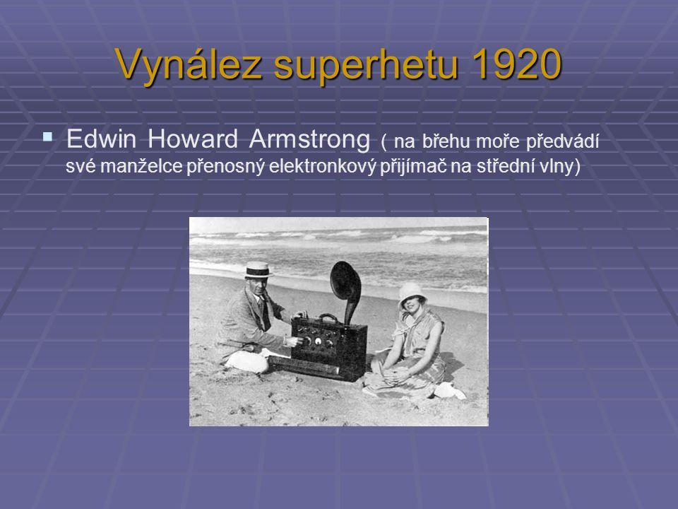 Vynález superhetu 1920 Edwin Howard Armstrong ( na břehu moře předvádí své manželce přenosný elektronkový přijímač na střední vlny)