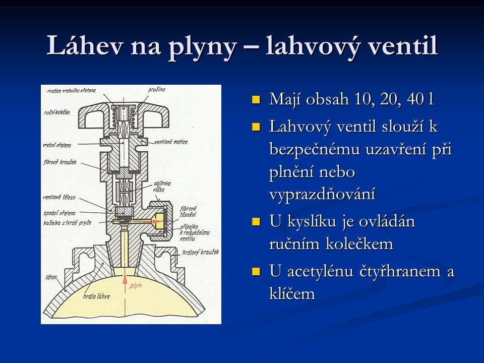 Láhev na plyny – lahvový ventil