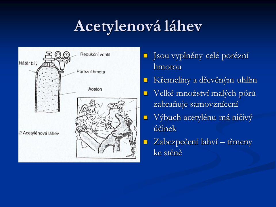 Acetylenová láhev Jsou vyplněny celé porézní hmotou