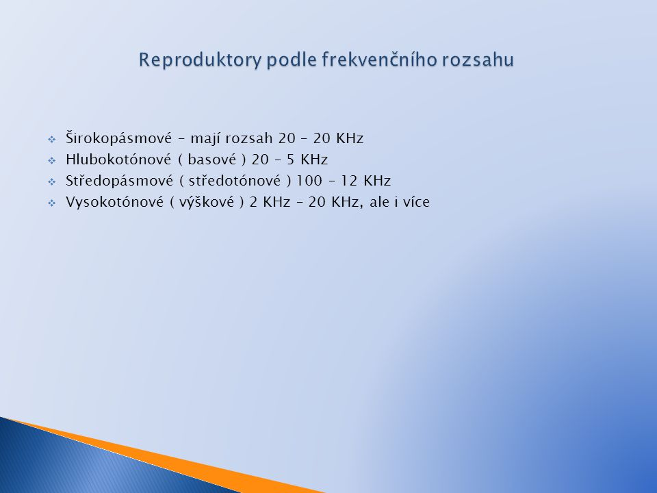 Reproduktory podle frekvenčního rozsahu