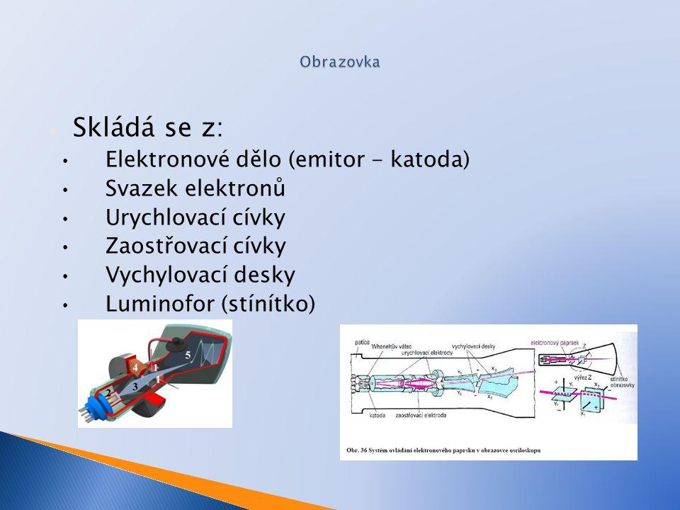 Skládá se z: Elektronové dělo (emitor - katoda) Svazek elektronů