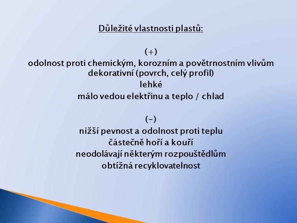 Důležité vlastnosti plastů: (+) odolnost proti chemickým, korozním a povětrnostním vlivům dekorativní (povrch, celý profil) lehké málo vedou elektřinu a teplo / chlad (-) nižší pevnost a odolnost proti teplu částečně hoří a kouří neodolávají některým rozpouštědlům obtížná recyklovatelnost