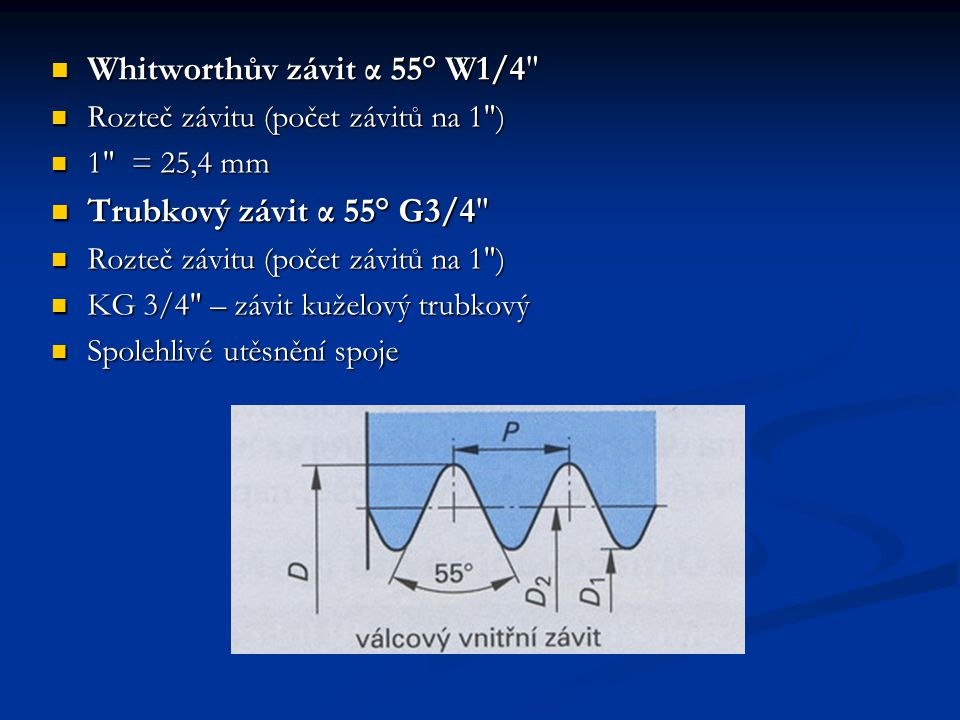 Whitworthův závit α 55° W1/4