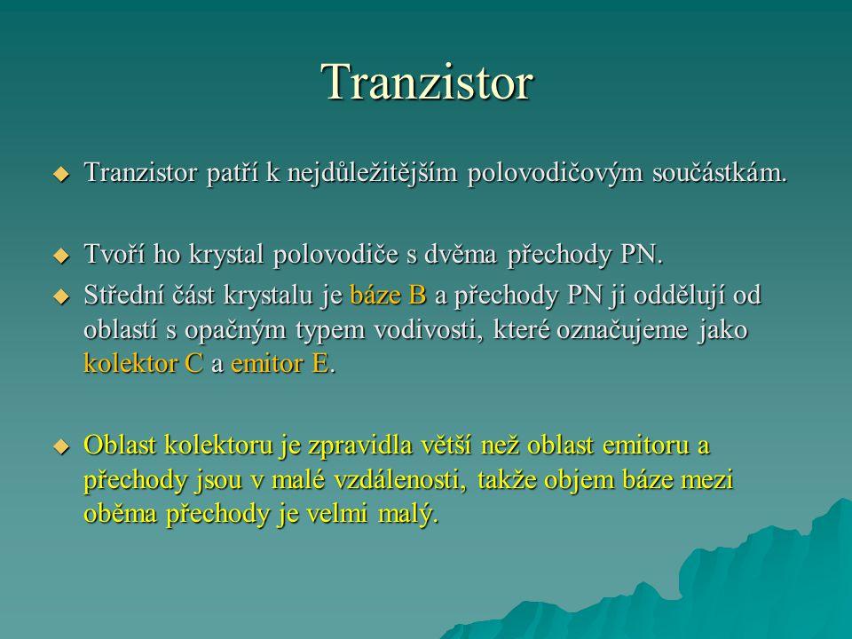 Tranzistor Tranzistor patří k nejdůležitějším polovodičovým součástkám. Tvoří ho krystal polovodiče s dvěma přechody PN.
