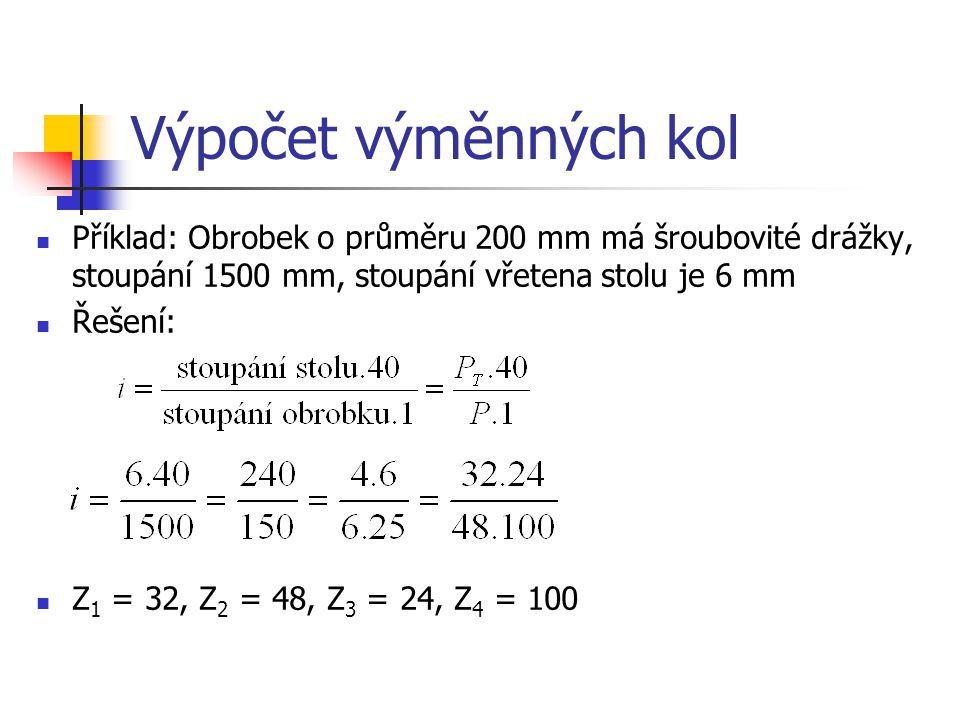 Výpočet výměnných kol Příklad: Obrobek o průměru 200 mm má šroubovité drážky, stoupání 1500 mm, stoupání vřetena stolu je 6 mm.