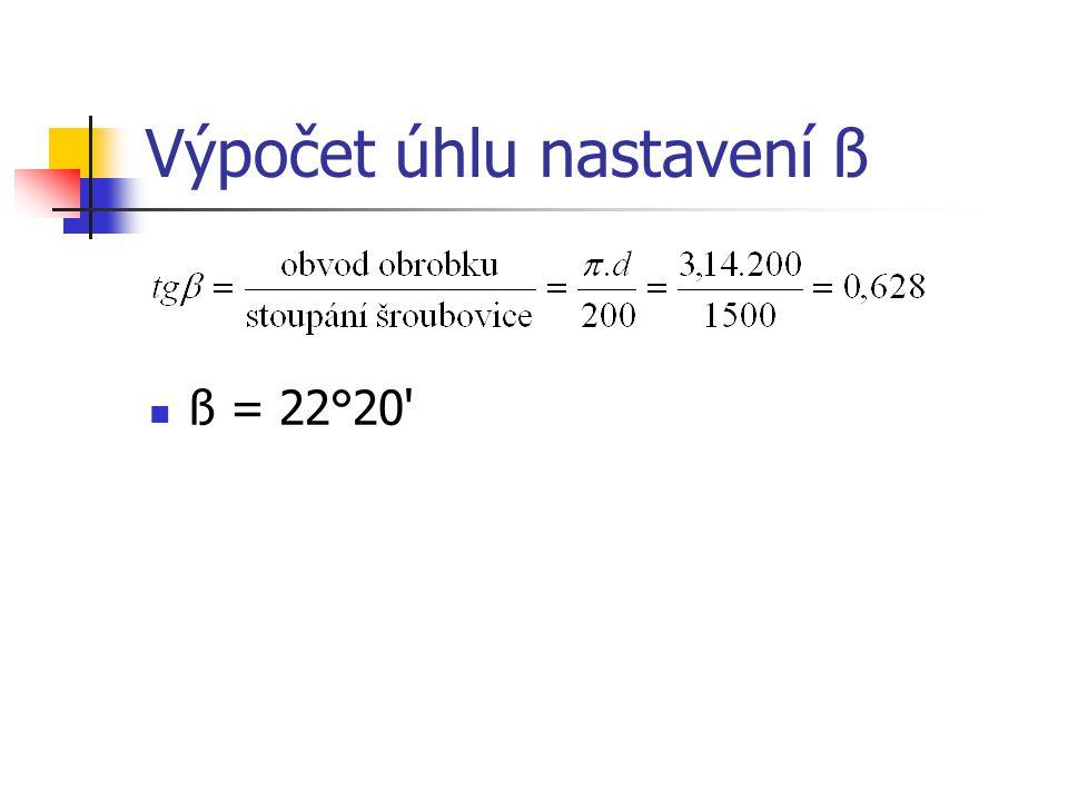 Výpočet úhlu nastavení ß