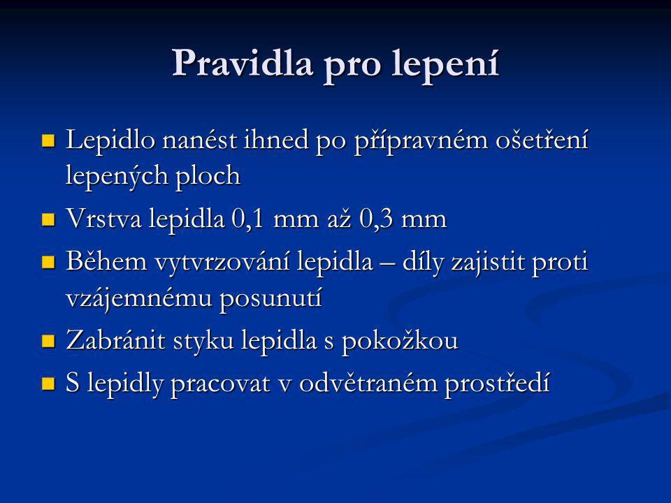 Pravidla pro lepení Lepidlo nanést ihned po přípravném ošetření lepených ploch. Vrstva lepidla 0,1 mm až 0,3 mm.