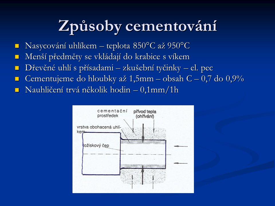 Způsoby cementování Nasycování uhlíkem – teplota 850°C až 950°C