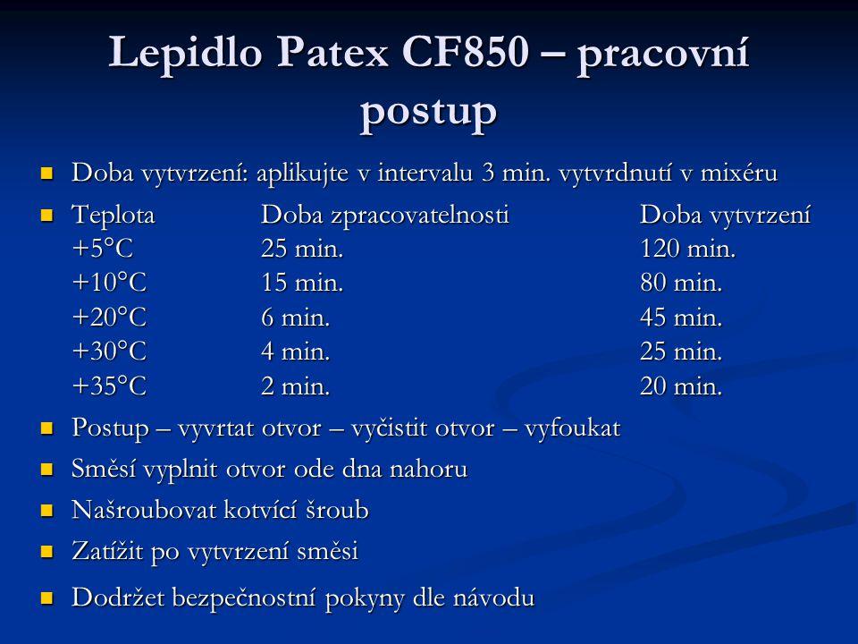 Lepidlo Patex CF850 – pracovní postup