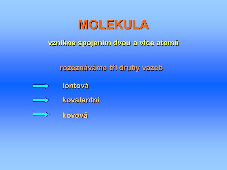 vznikne spojením dvou a více atomů