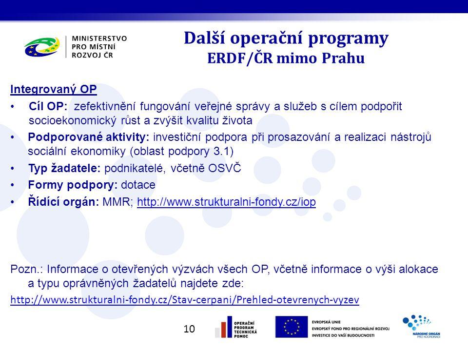 Další operační programy ERDF/ČR mimo Prahu