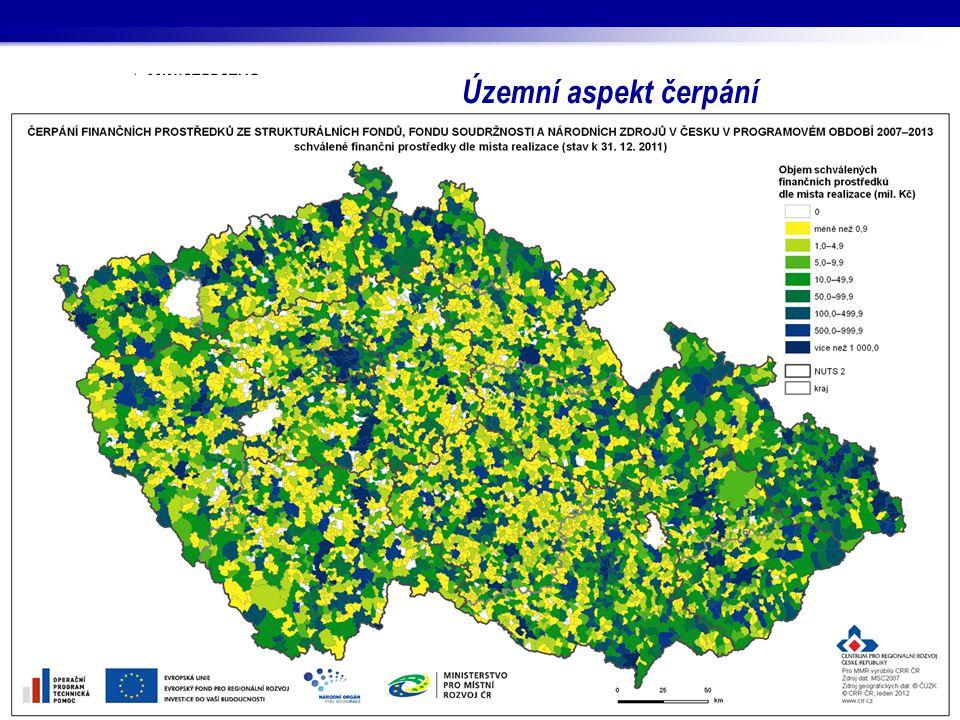 Územní aspekt čerpání Vývoj rozložení finančních prostředků ze SF / FS a národních zdrojů na území Česka v období 2007–2011.