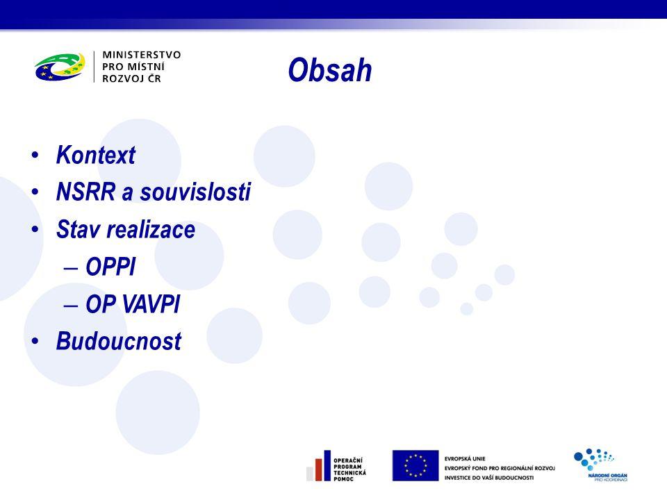 Obsah Kontext NSRR a souvislosti Stav realizace OPPI OP VAVPI