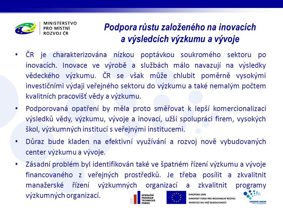 Podpora růstu založeného na inovacích a výsledcích výzkumu a vývoje