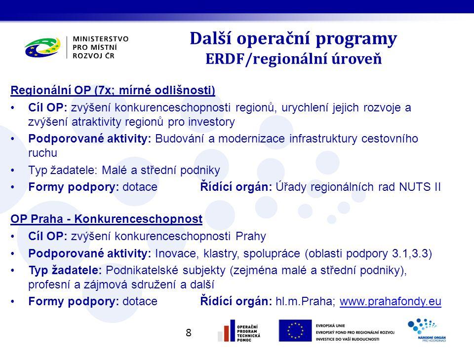 Další operační programy ERDF/regionální úroveň