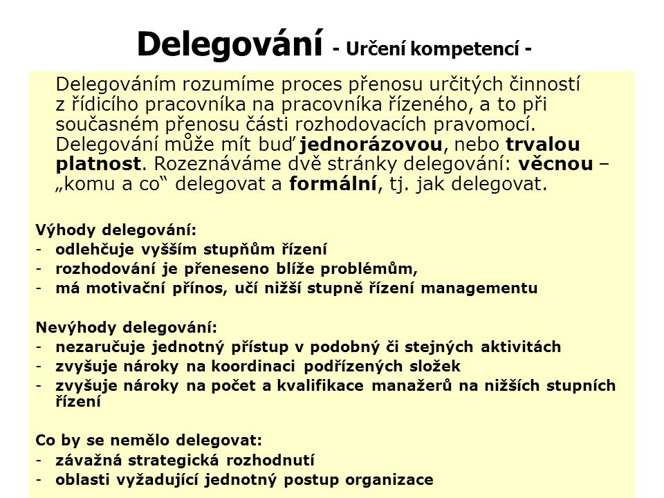 Delegování - Určení kompetencí -