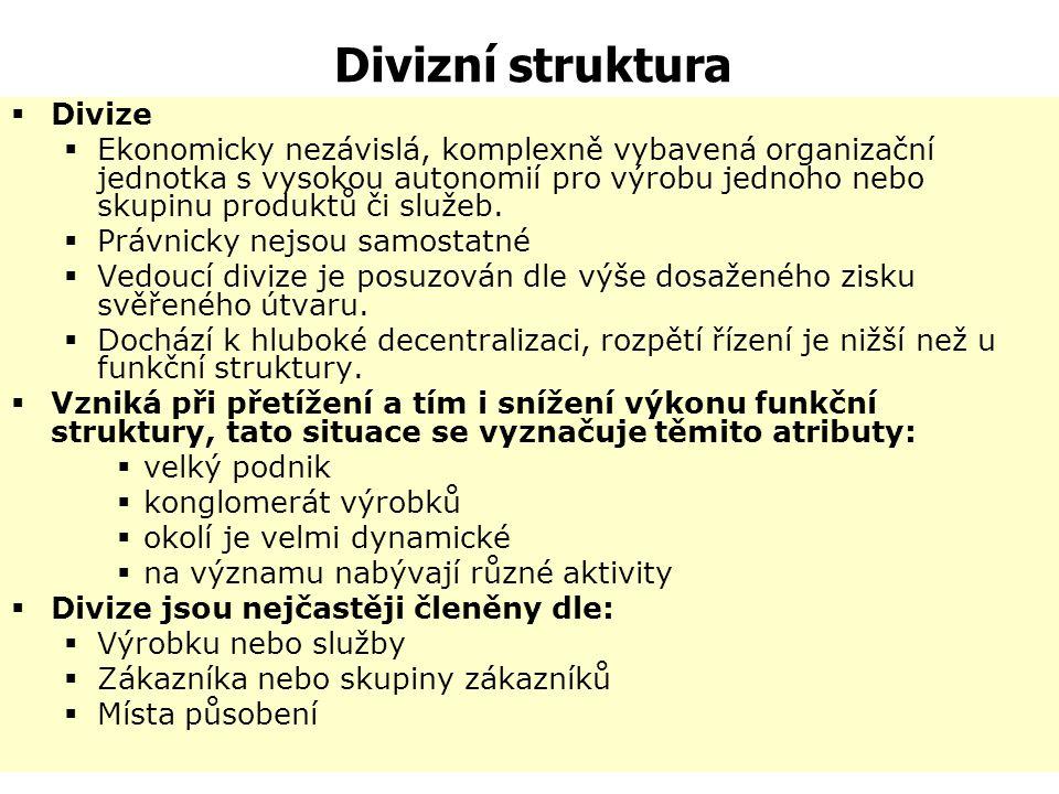 Divizní struktura Divize