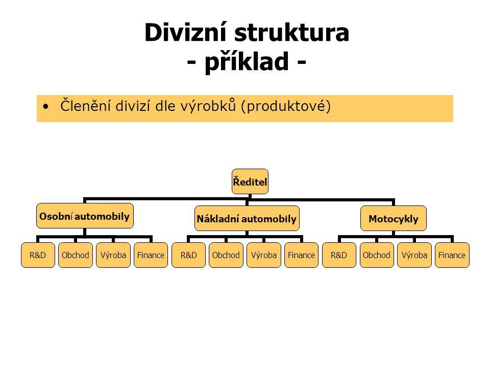 Divizní struktura - příklad -