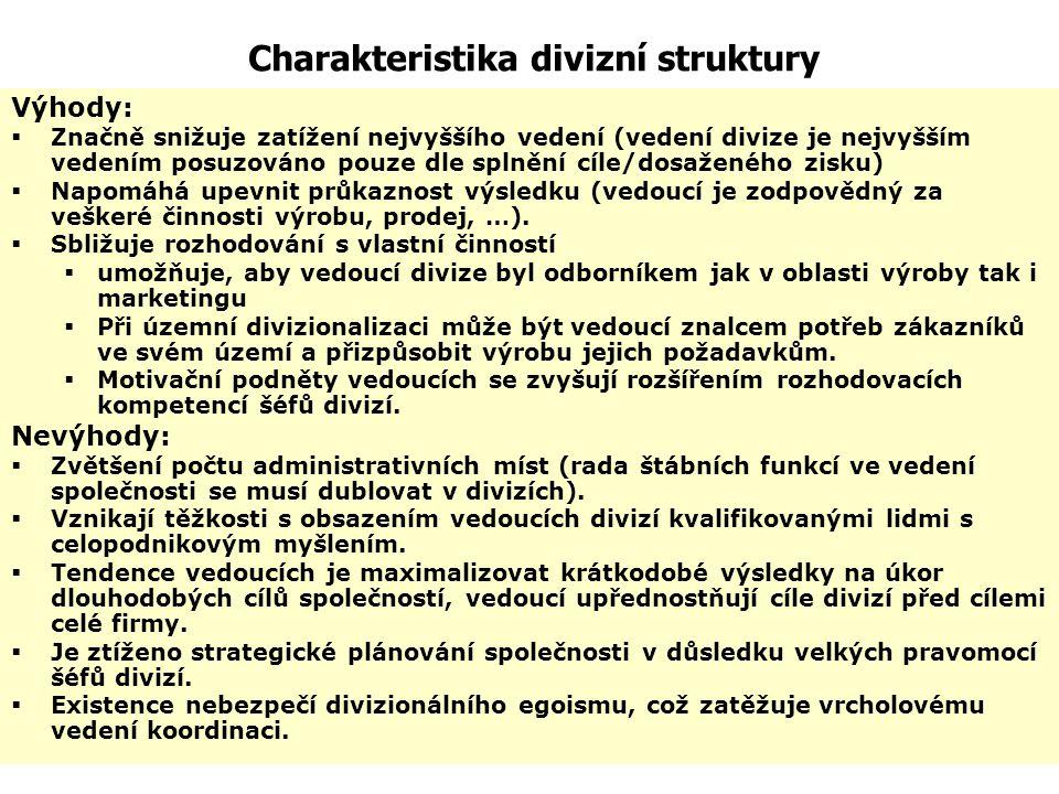 Charakteristika divizní struktury