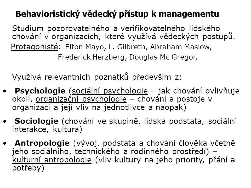 Behavioristický vědecký přístup k managementu