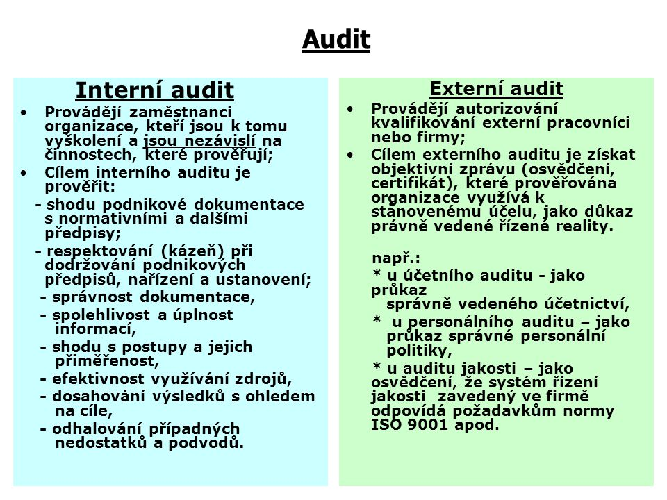 Audit Interní audit Externí audit