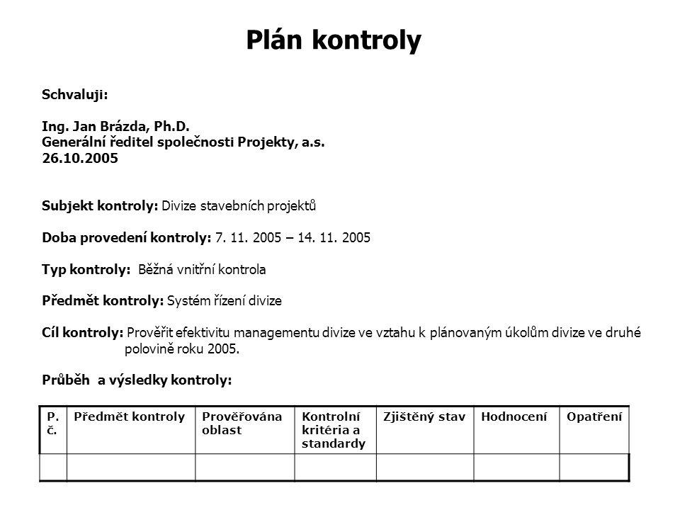 Plán kontroly Schvaluji: Ing. Jan Brázda, Ph. D