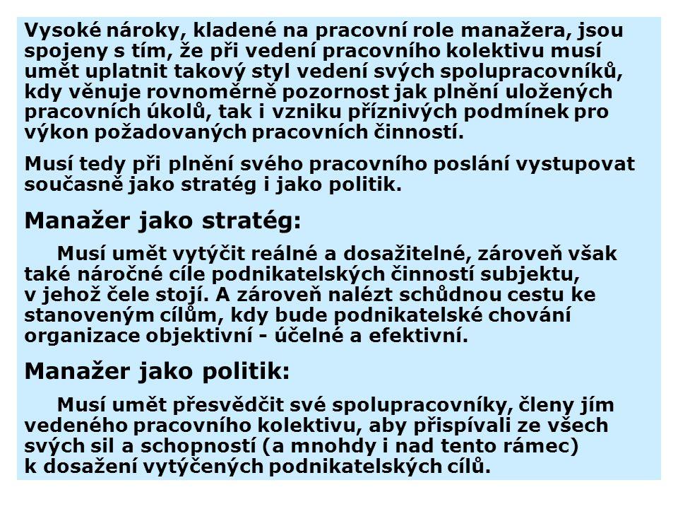 Manažer jako stratég: Manažer jako politik: