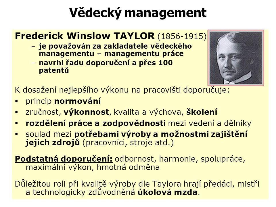 Vědecký management Frederick Winslow TAYLOR (1856-1915)
