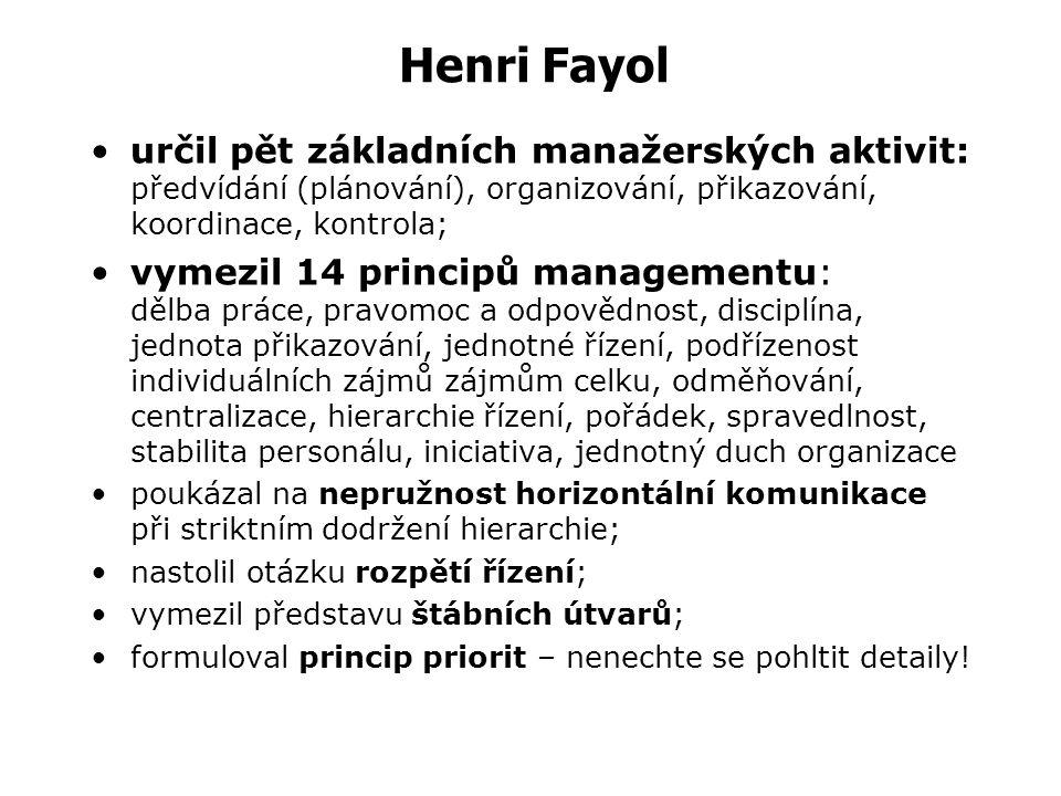 Henri Fayol určil pět základních manažerských aktivit: předvídání (plánování), organizování, přikazování, koordinace, kontrola;