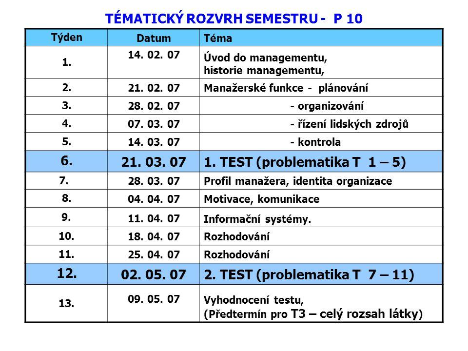 TÉMATICKÝ ROZVRH SEMESTRU - P 10