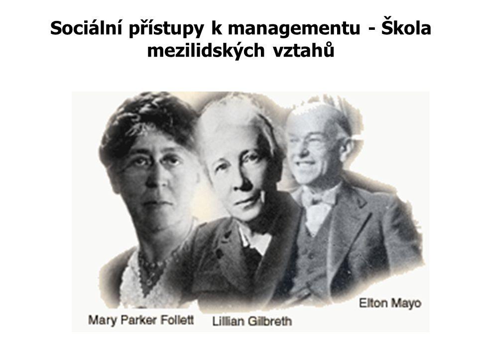 Sociální přístupy k managementu - Škola mezilidských vztahů