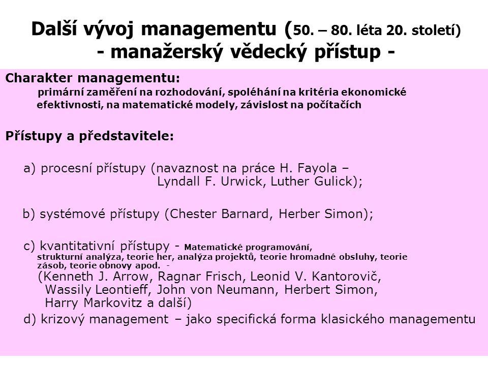 Další vývoj managementu (50. – 80. léta 20