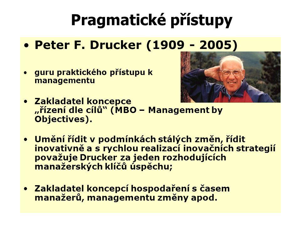 Pragmatické přístupy Peter F. Drucker (1909 - 2005)