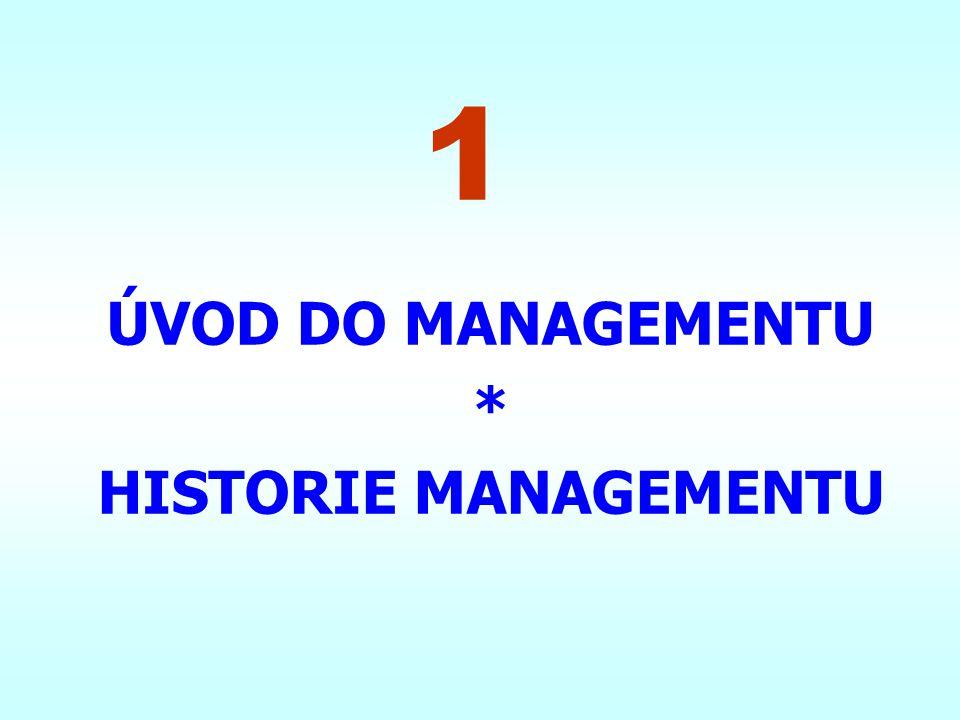 ÚVOD DO MANAGEMENTU * HISTORIE MANAGEMENTU