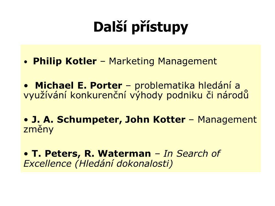 Další přístupy Philip Kotler – Marketing Management. Michael E. Porter – problematika hledání a využívání konkurenční výhody podniku či národů.