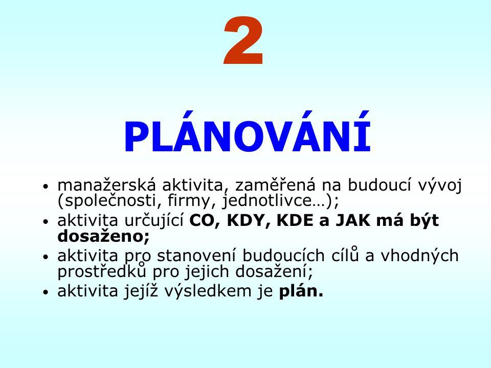 2 PLÁNOVÁNÍ. manažerská aktivita, zaměřená na budoucí vývoj (společnosti, firmy, jednotlivce…);