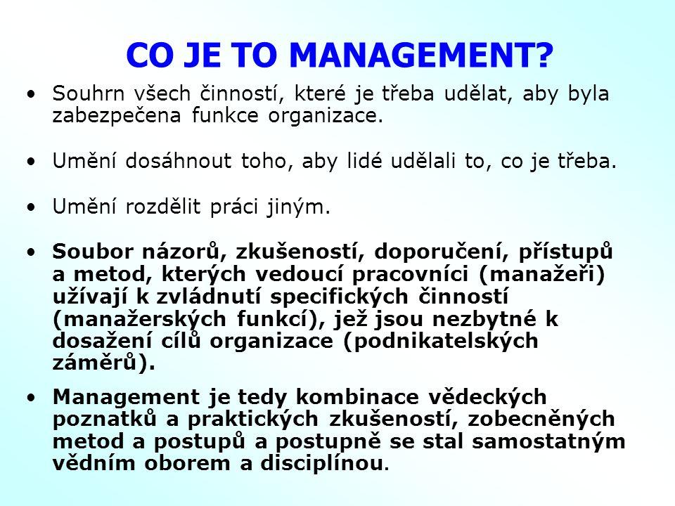 CO JE TO MANAGEMENT Souhrn všech činností, které je třeba udělat, aby byla zabezpečena funkce organizace.